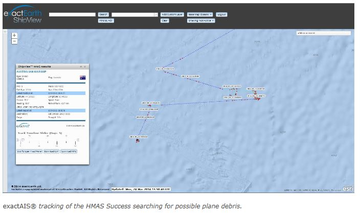 exactAIS® tracking of the HMAS Success searching for possible plane debris
