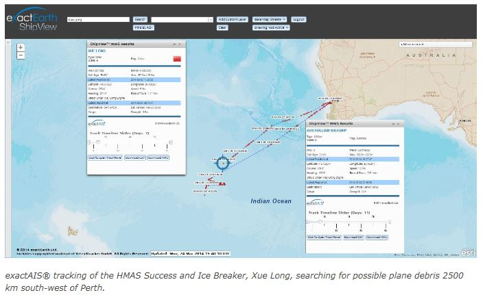 exactAIS® tracking of the HMAS Success and Ice Breaker, Xue Long, searching for possible plane debris 2500 km south-west of Perth.