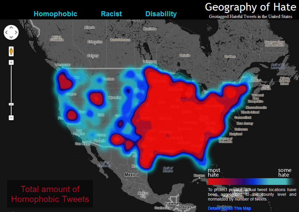 the data behind this map is based on every geocoded tweet in the united states from june 2012 april 2013 containing one of the words