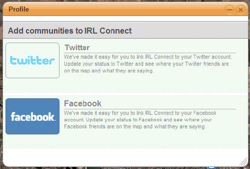 Connecting with facebook and Twitter from the map – IRL