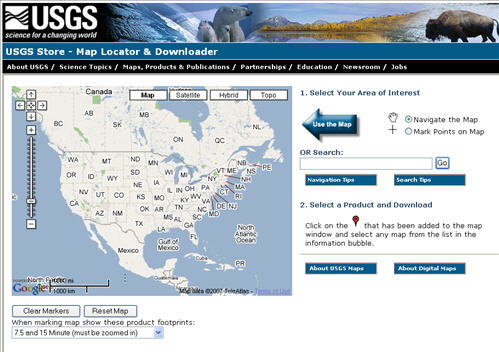 Locate and Download free USGS GeoPDF maps using the Map