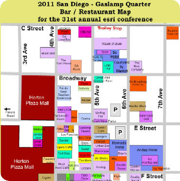 2011 San Diego Gaslamp Restaurant and Bar Map – perfect for