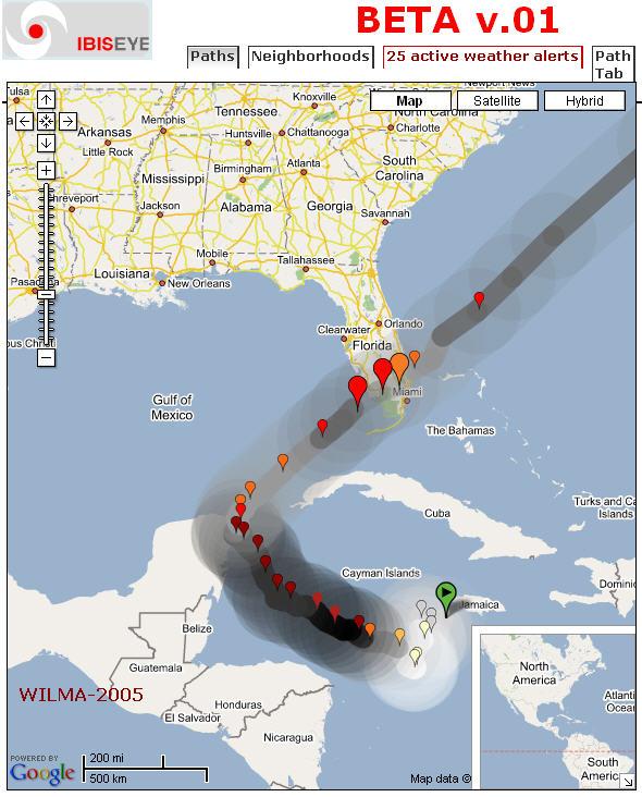 Florida-centric Google Maps mashup - IBISEYE Risk Estimator tracks