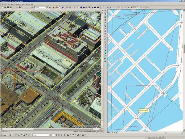 Pictometry announces technical advancements for gis professionals image 1 above screen capture of arcmap software embedded with pictometry software and oblique image with gis layers publicscrutiny Choice Image