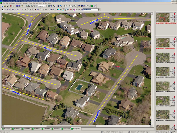 Pictometry announces technical advancements for gis professionals image 3 above screen capture of pictometry efs version 27 with gis street centerline files and street names overlaid on oblique image publicscrutiny Choice Image