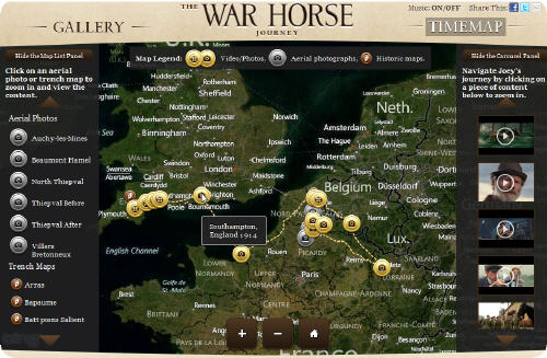 War Horse Journey Time Map by Dreamworks and Microsoft (Bing