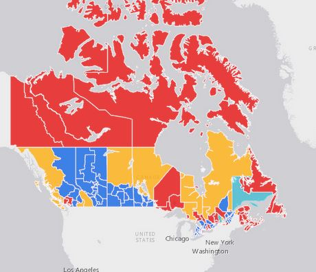 2015 Canadian election results map